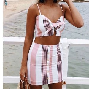 Striped Pink & White Two Piece Crop Top Mini Skirt